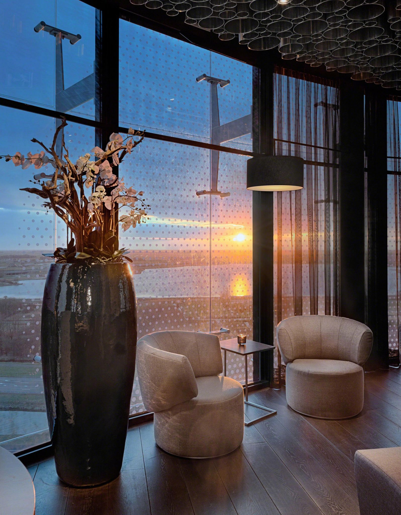 At sunset, the sky bar's hospitality design provides the ultimate backdrop for a drink or dinner.