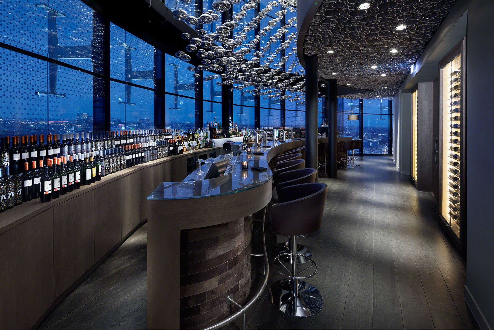 A chandelier acts as an eye-catcher in the sky bar of Amsterdam's Fletcher design hotel.