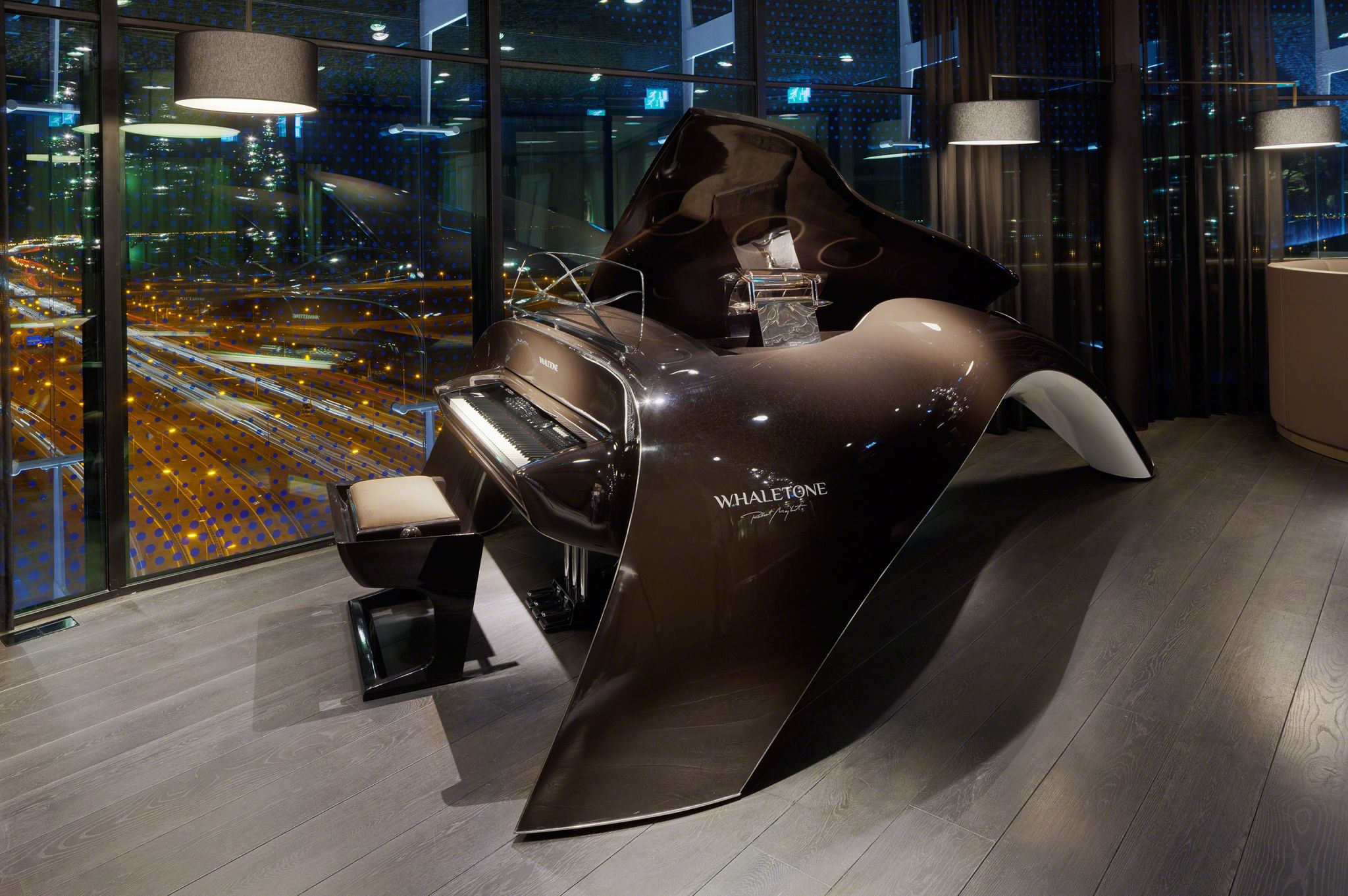 Interior designer Robert Kolenik integrated the Whaletone design piano into the sky bar of Amsterdam's Fletcher design hotel.
